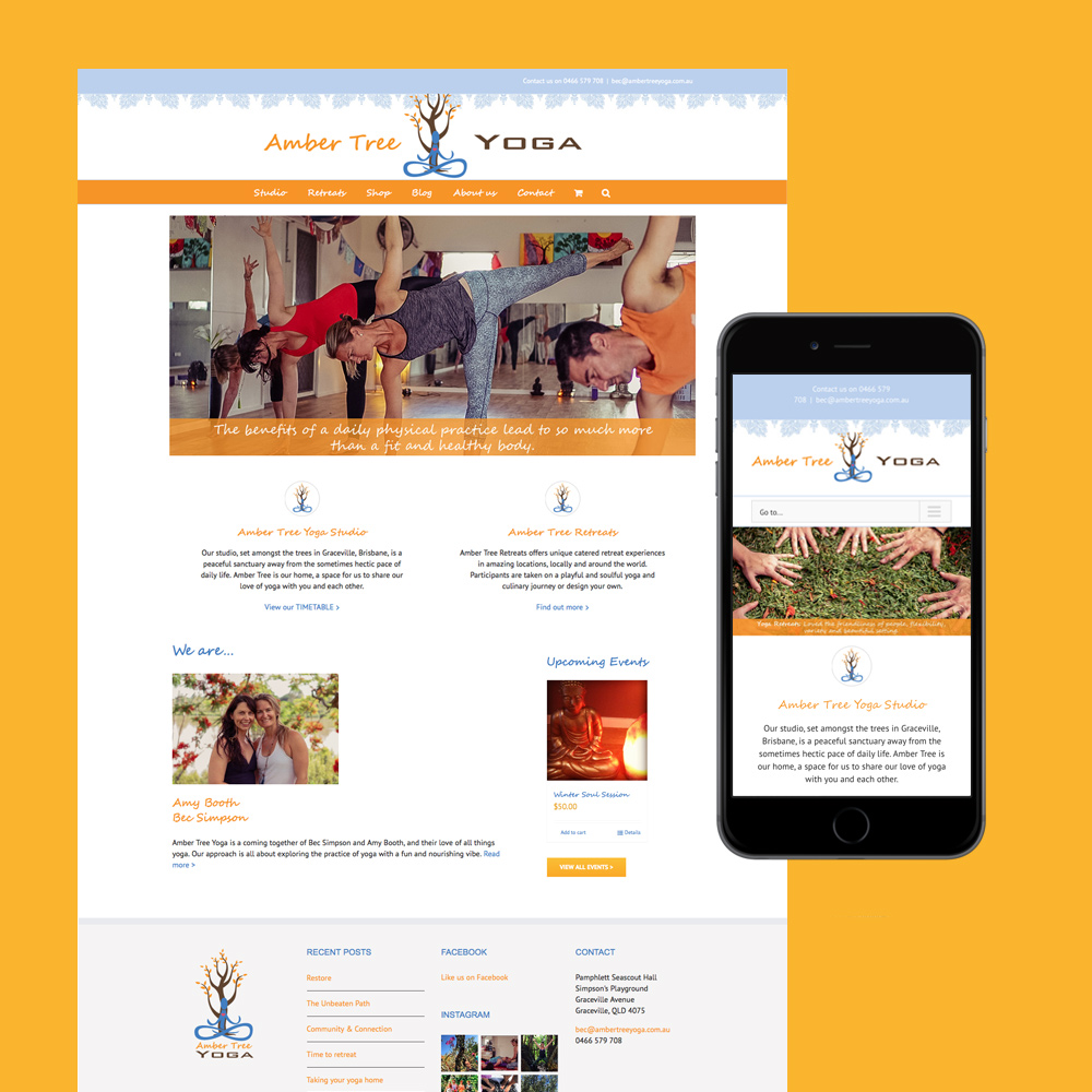 amber tree yoga website design