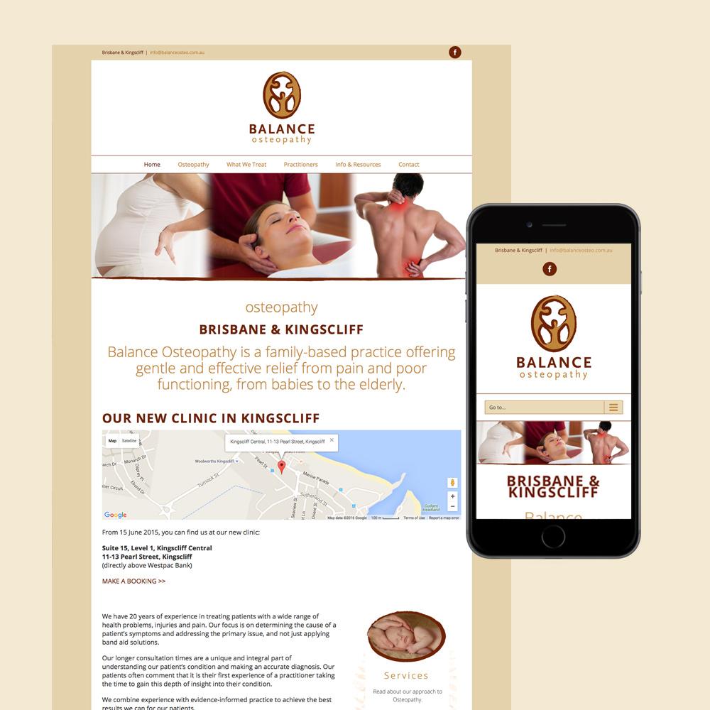 balance osteopathy website design