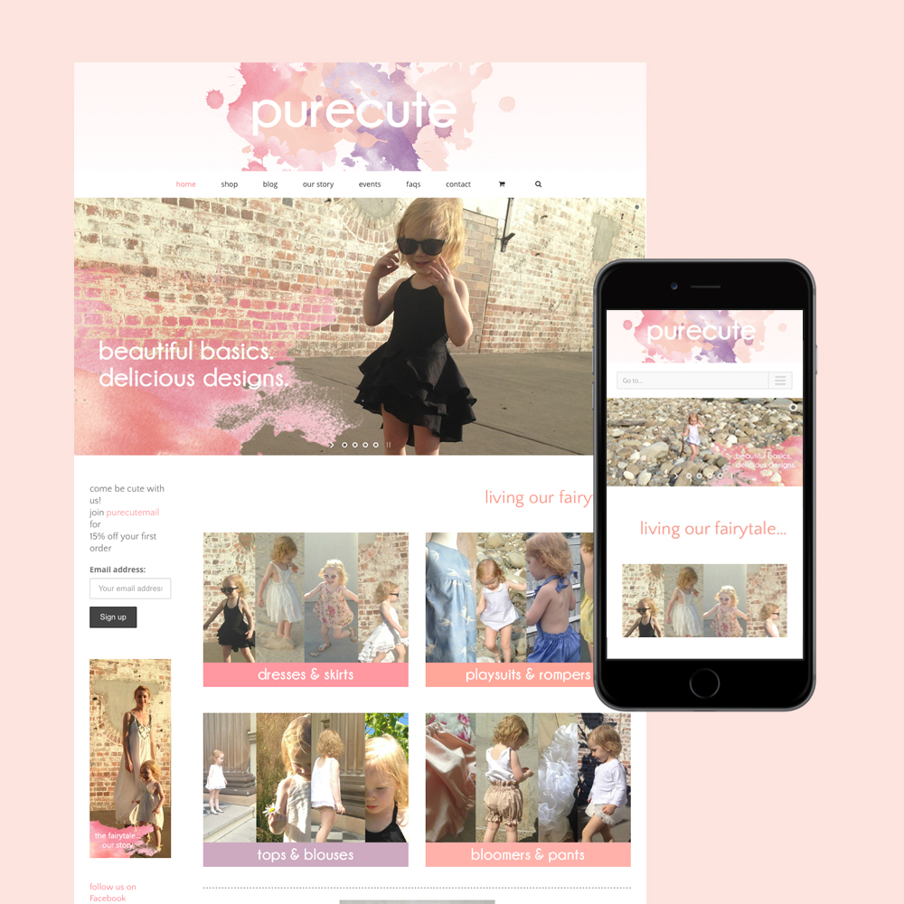 pure cute clothing website design