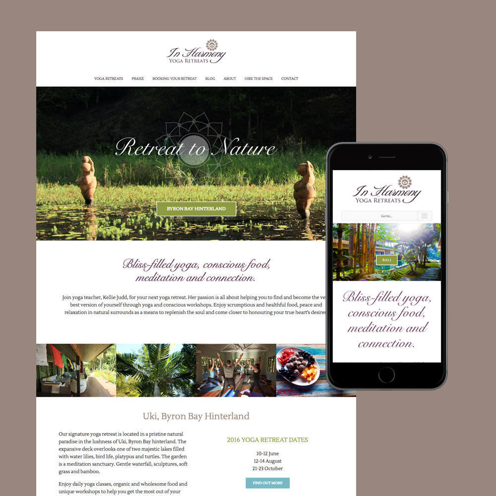 in harmony yoga retreat website design