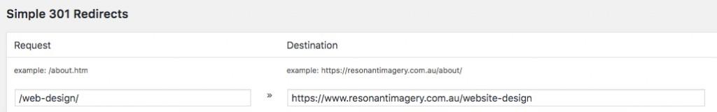 simple 301 redirects wordpress changing url