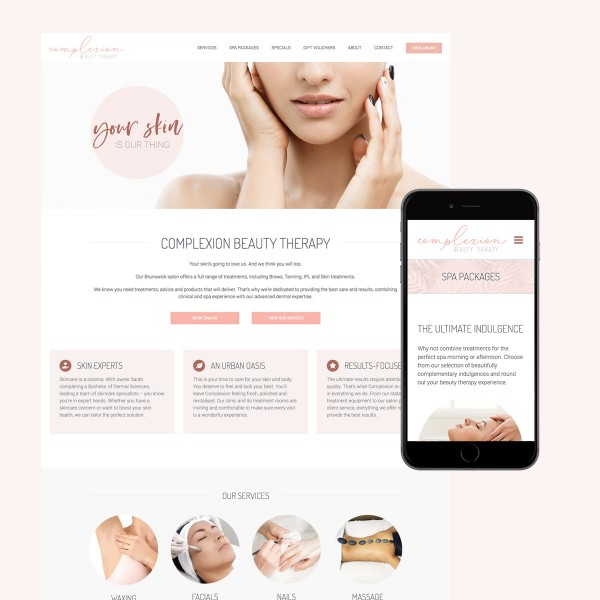complexion beauty website design