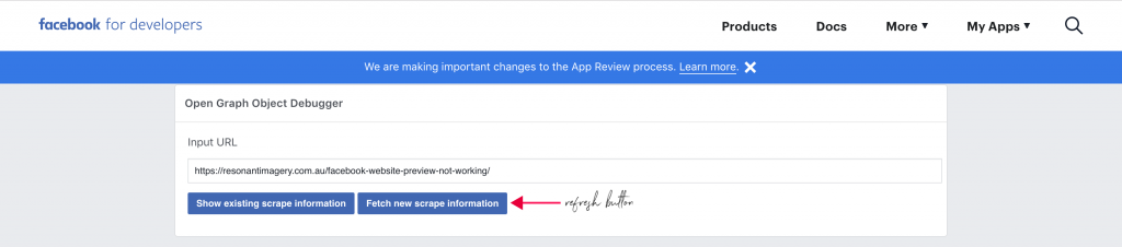Facebook debugging tool 1