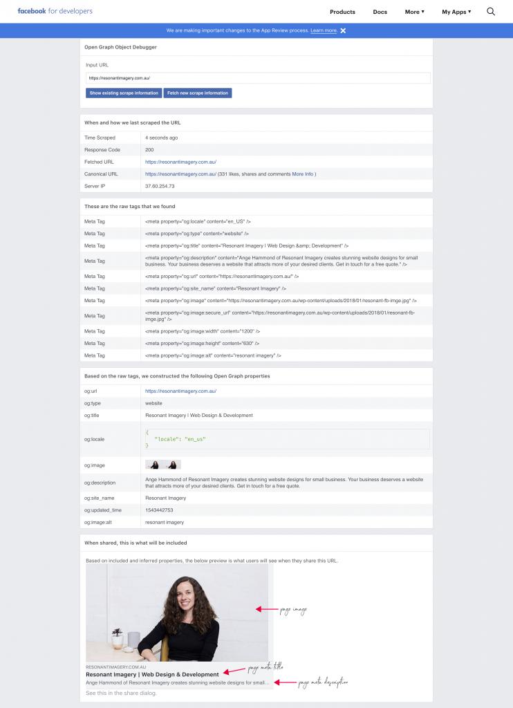 Facebook debugging tool 2